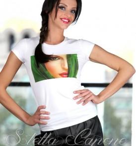 Тениска с дизайнерски принт -Green face от MyFashionstore.eu