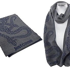 Мъжки шал JUST CAVALLI- grey/blue snakes- MyFashionstore.eu