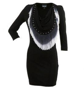 Черна рокля с ресни JUST CAVALLI - myfashionstore.eu