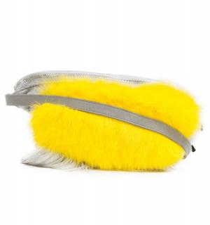 Чанта с естествен косъм Gena- yellow - MyFashionstore.eu