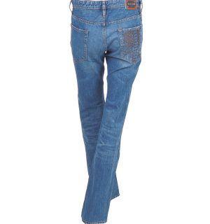 Дамски дънки Just Cavalli 8 Сини дънки Just Cavalli Избелял ефект 5 джоба Декорация на десен джоб Метално лого върху кожа 100 % памук