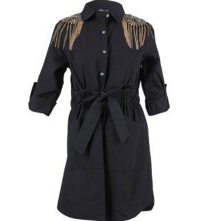 Черна памучна риза-рокля Odi et Amo- MyFashionStore.eu