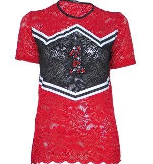 Червена дантелена тениска Odi et Amo - MyFashionstore.eu