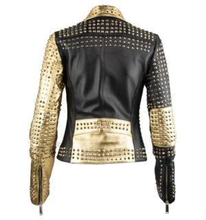 Дамско кожено яке Marpel- Black&Gold - MyFashionStore.eu