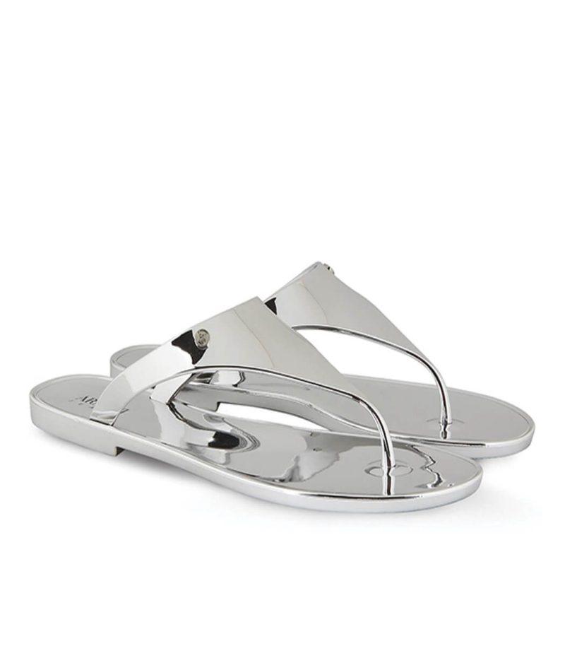 Сребърни чехли Armani Jeans - MyFashionStore.eu