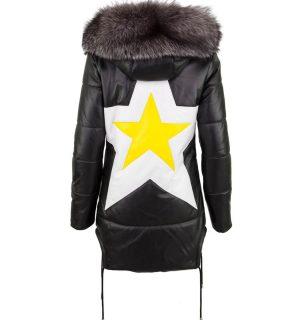 Черно дамско кожено яке Marpel- Star - MyFashionStore.eu