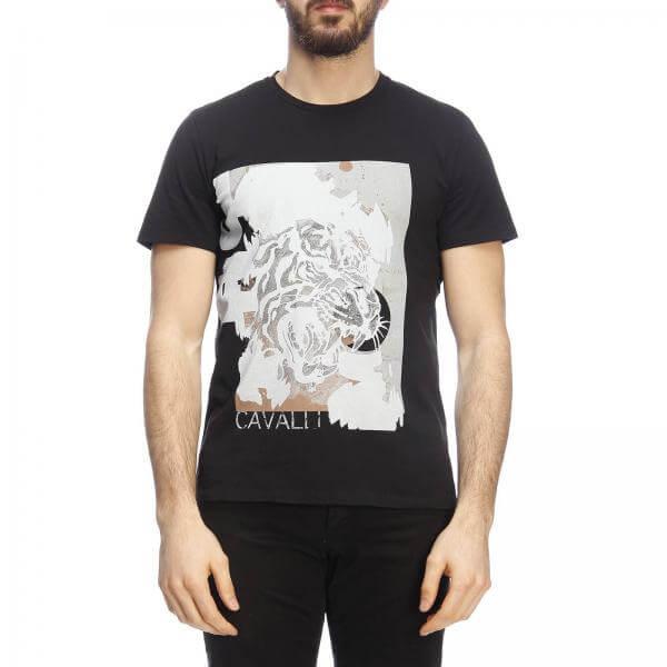 Мъжка тениска Just Cavalli S01GC0541 N20633-black- MyFashionStore.eu